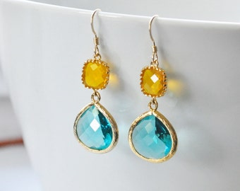 Teal Blue and Yellow Gold Drop Bezel Set Earrings, Bridesmaids Earrings,Wedding jewelry, Two stone gold earrings, Tiered Glass