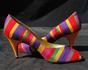 Vintage 70's shoes ANDREA CARRANO silk rainbow shoes pumps open toe high heels size 38 usa 7 1/2 by thekaliman
