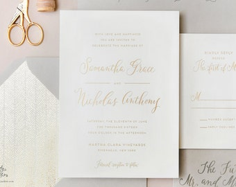 INVITATION SAMPLE The Darling Suite - Gold Foil Calligraphy Wedding Invitation - Heirloom Wedding Invitations by Sincerely, Jackie