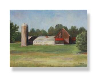 Fine Art Canvas Painting - Farm Landscape Painting - Canvas Painting with Barns - Fine Art Paintings by Carrie Venezia - Green, Red, Blue