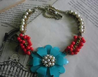 turqouise pearl rhinestone encrusted flower necklace watermelon beads & pearl chain~assemblage necklace~statement jewelry~junk gypsy