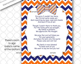 Boy Thank You Poem Note Card, INSTANT download, boy baby shower thank you note, navy orange bow tie thank you card