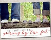 Pregnancy announcement: Printable (growing by two feet photo pregnancy announcement card)