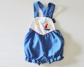 Vintage 80s Sailing Romper One Piece - Cuties by Judy, nautical, Baby 0 to 6 months 10 Dollar Sale