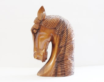 Vintage 60s Hand Carved Wooden Horse Head Sculpture Bust - Monkey Pod Wood, Hawaii