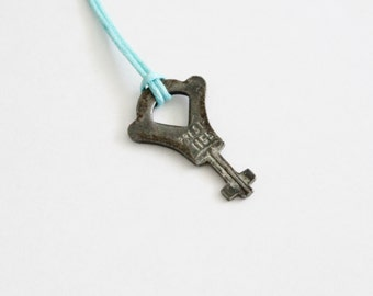 Vintage Tiny Presto 1155 Luggage Key - Upcycled Necklace on Waxed Aqua Cord