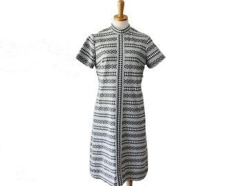 Vintage 60s Funky Geometric Pattern Scooter Dress - Women XL - black, white, gray