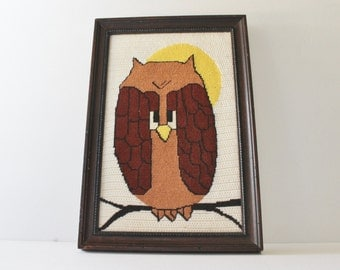 Vintage 70s Owl Needlepoint Picture - 15x10 - Professionally Framed