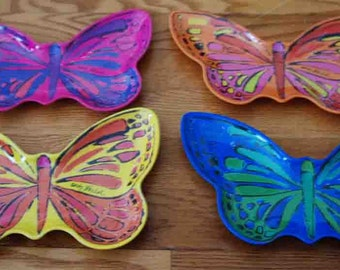 1 X Rare Orange Andy Warhol Butterfly, Melamine Plates, Appetizer Plates, Precido, Fantastic Plastic Collection, Andy Warhol Foundation appr