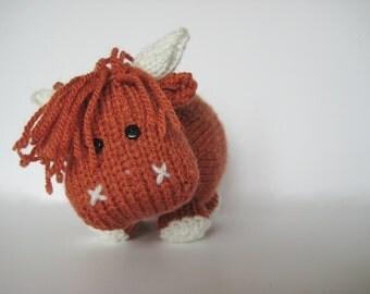 Mac the Highland Bull toy knitting pattern