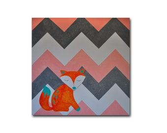 Fox with Chevron - Original Canvas Painting - 24 inch x 24 inch - Children's Room - Nursery Artwork - Salmon, Turquoise, Orange and Gray
