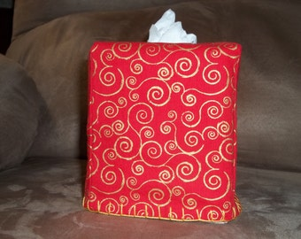 Red with gold swirls  Tissue Box Cover