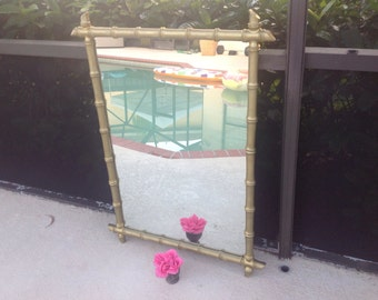 FAUX BAMBOO MIRROR Hollywood Regency / Gold Faux Bamboo Mirror Chinoiserie / 42 Inches Tall / Palm Beach Chic On Sale at Retro Daisy Girl