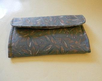 Gray Leaves Clutch Wallet