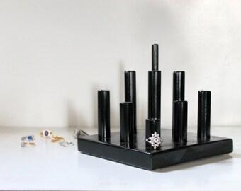 Glossy Black Ring & Hairtie Organizer, Craft Show Display, Jewelry Retail Rack Stand, Photography Prop, Ring Dish, Jewllery Jewlery