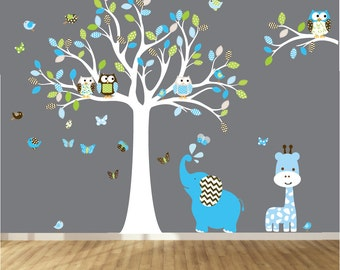 Vinyl wall decal nursery owl tree wall decal chevron tree