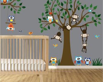 Nursery Wall Decal - Animal Wall Decal - Vinyl Wall Tree - Nursery Tree Wall Sticker