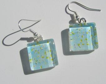 Blue Earrings, Glass Dangle Earrings, Summer Earrings, Blue Glass Earrings