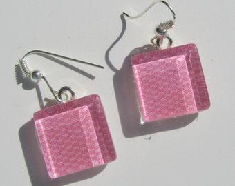 Pink Earrings, Pink Glass Dangle Earrings, Bright Pink Earrings, Summer Earrings