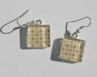 Yellow Earrings, Glass Dangle Earrings, Yellow Glass Earrings, Summer Earrings
