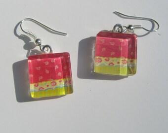 Red and Green Earrings, Glass Dangle Earrings, Summer Earrings