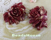 34-00-CA  2pcs Hight Quality Cabbage Rose with Gold Petals - Wine