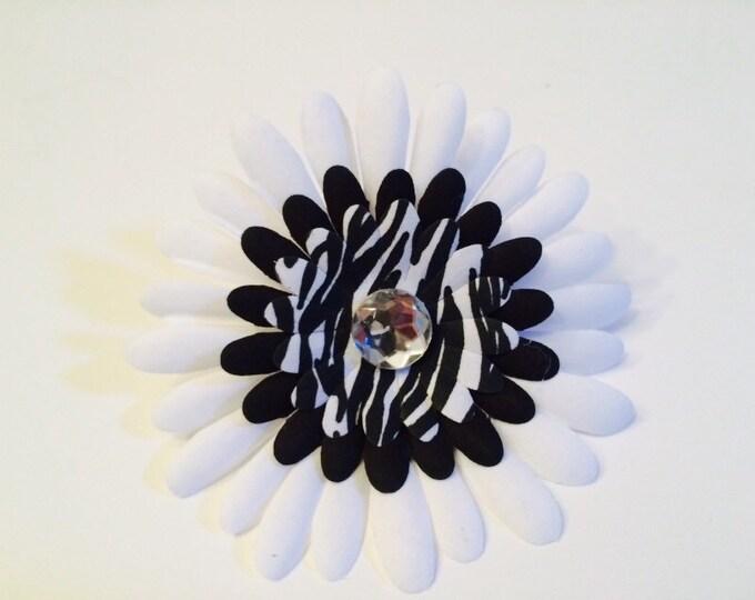 "Dog Collar Flower, Flower for Collar, 4.5"" Posh Zebra Animal Print Flower Bow for medium to large dog, fancy pet collar accessory"