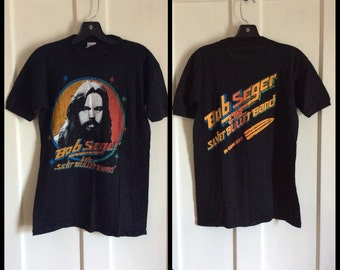 Vintage 1970's Deadstock Bob Seger and the Silver Bullet Band in Concert Rock Band T-shirt size M NOS
