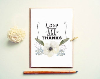 Wedding Thank you card. Love and Thanks. Floral Thank you card. LC436