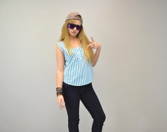 Striped crop top tank turquoise hipster summer 1980s vintage indie 90s grunge IngridIceland