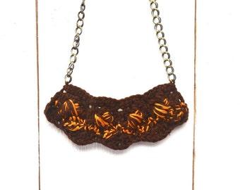 50% OFF Crochet Statement Necklace Fiber Jewelry Shell Bib Necklace Brown Golden Metal Chain Fiber Pendant