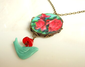 Red Rose Necklace,Turquoise Bird Necklace,Vintage Style,Bird Necklace