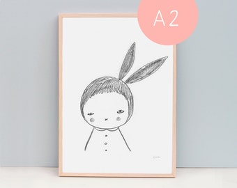 A2 or 40 x 50 cm  Large Poster Art Print, Black and White Rabbit Girl