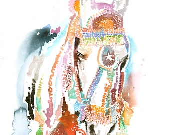 Original Watercolour Illustration.  Original Watercolour Painting. Titled - Indian Wedding Horse