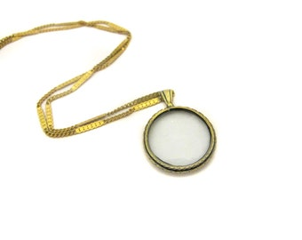 Small Antiqued Brass Monocle Necklace