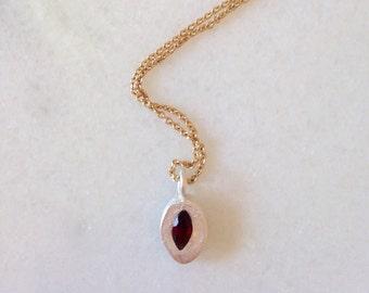Fine Silver Garnet Pendant