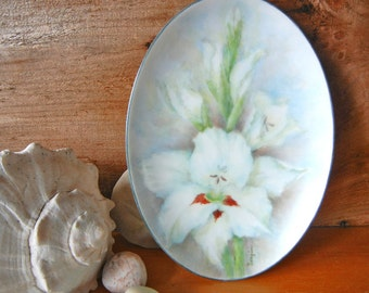 Vintage Hand painted oval plate with White Gladiola signed by Googins small platter decorative plate handpainted white