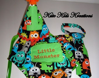 Baby Boy's Diaper Cover, Necktie, and Hat Set, Monsters, Cake Smash, Photo Prop