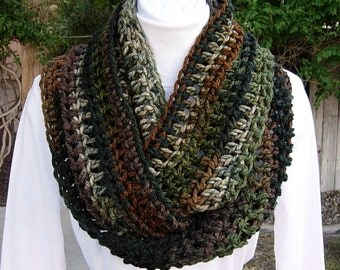 Crochet INFINITY SCARF, Loop Scarf, Green Black Brown Scarf, Winter Camo Scarf, Soft Striped Scarf, Bulky Knit Cowl, Ready to Ship in 2 Days