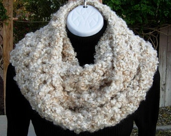 Oversized INFINITY SCARF Loop Cowl Off White, Cream, Beige Large Thick Bulky Wide Soft Winter Handmade Crochet Knit..Ready to Ship in 2 Days