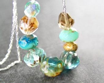 Sea Blue Aqua Necklace Sterling Silver Artisan Handmade Bohemian Glass Necklace Ocean Aqua Blue Beaded Chain Necklace