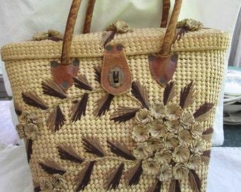 Woven Straw Purse-Summer Handbag Boho-Woven Natural Raffia Market Bag-Large Straw Handled-Summer Wicker Beach Bag-Handwoven Lady's Purse