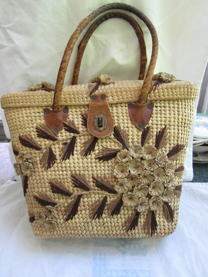 Woven Straw Purse Summer Handbag Boho Woven Natural Raffia