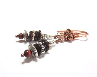 Copper Boho Earrings, Brown Shell Heishi, Fancy Earring Wires, Detailed Silver Rondelles, Red Tiger Eye, Copper and Silver Earrings, SRAJD