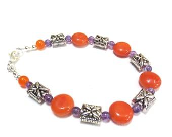 Jasper and Amethyst Bracelet, Silver, Orange & Purple, Large Beaded Bracelet, Ornate Silver Pillow Beads, Amethyst and Orange Dyed Jasper