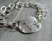 Horse Jewelry, Artisan Original, Handmade Fine Silver Arabian Horse Link with Sterling Bracelet