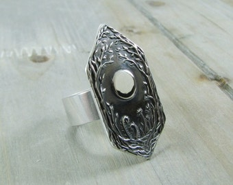 Forest Moon No. 2, Fine Silver Ring, Handmade Original by SilverWishes, Recycled Silver