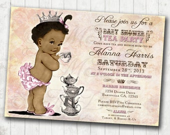 Tea Party African American Baby Shower Invitation For Girl - Princess - Crown - Pink - DIY Printable