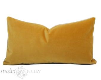 Saffron Yellow Velvet Pillow Cover - 11X 19 or 11 X 21 lumbar - designer quality - yellow velvet - heavy weight velvet -  ready to ship