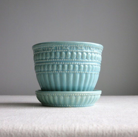 Vintage McCoy Pottery Flower Pot - Blue Green Glaze - Ceramic Planter with Saucer